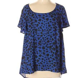 Torrid Blue Leopard Print Sleeve Blouse Size 3